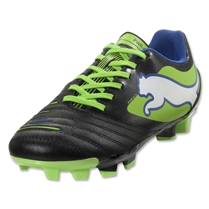 PUMA PowerCat 4.12 FG Junior (Black/Jasmine Green/Monaco Blue)