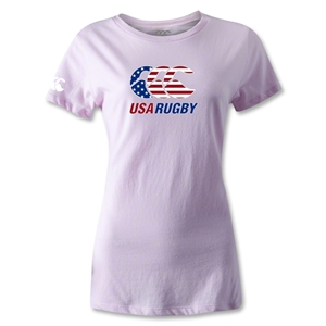 USA Rugby Women's Stars and Stripes T-Shirt (Pink)