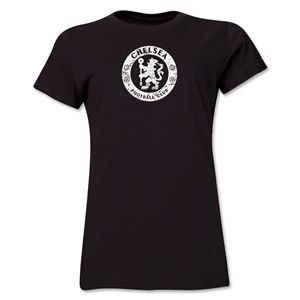 Chelsea Distressed Emblem Women's T-Shirt (Black)