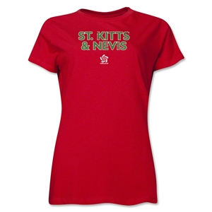 St. Kitts & Nevis CONCACAF Distressed Women's T-Shirt (Red)