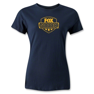 Fox Soccer Distressed Women's T-Shirt (Navy)