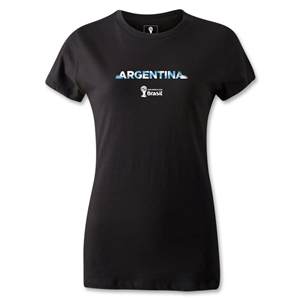 Argentina 2014 FIFA World Cup Brazil(TM) Women's Palm T-Shirt (Black)