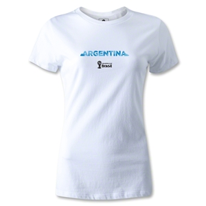 Argentina 2014 FIFA World Cup Brazil(TM) Women's Palm T-Shirt (White)