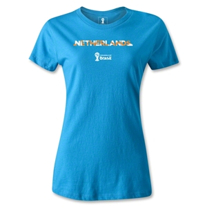 Netherlands 2014 FIFA World Cup Brazil(TM) Women's Palm T-Shirt (Turquoise)