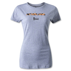 Netherlands 2014 FIFA World Cup Brazil(TM) Women's Palm T-Shirt (Grey)