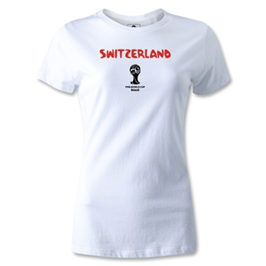 Switzerland 2014 FIFA World Cup Brazil(TM) Womens Core T-Shirt (White)