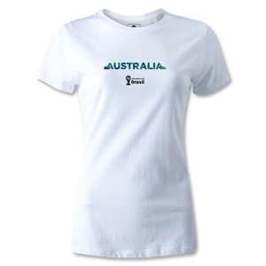 Australia 2014 FIFA World Cup Brazil(TM) Women's Palm T-Shirt (White)