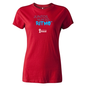 2014 FIFA World Cup Brazil(TM) Women's Portugese All In One Rhythm T-Shirt (Red)