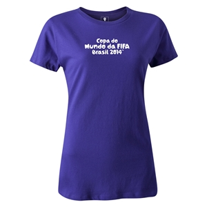 2014 FIFA World Cup Brazil(TM) Women's Portugese Logotype T-Shirt (Purple)
