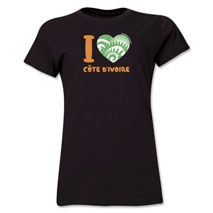 I Heart Cote d'Ivoire 2014 FIFA World Cup Brazil(TM) Women's T-Shirt (Black)