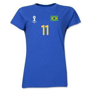 Brazil 2014 FIFA World Cup Brazil(TM) Women's Number 11 T-Shirt (Royal)