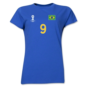 Brazil 2014 FIFA World Cup Brazil(TM) Women's Number 9 T-Shirt (Royal)