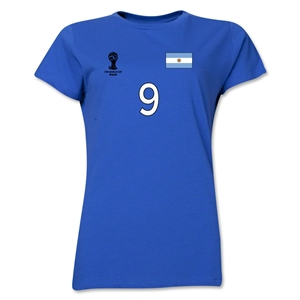 Argentina 2014 FIFA World Cup Brazil(TM) Women's Number 9 T-Shirt (Royal)