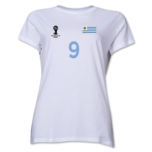 Uruguay 2014 FIFA World Cup Brazil(TM) Women's Number 9 T-Shirt (White)