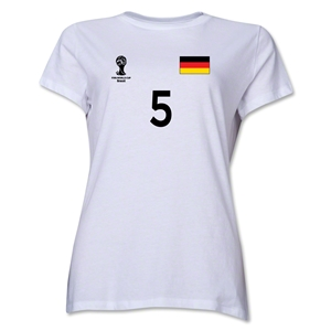 Germany 2014 FIFA World Cup Brazil(TM) Women's Number 5 T-Shirt (White)