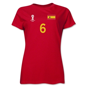 Spain 2014 FIFA World Cup Brazil(TM) Women's Number 6 T-Shirt (Red)