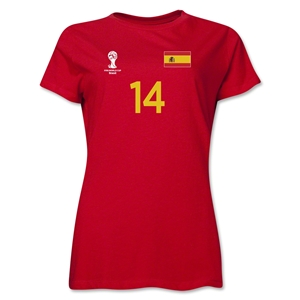 Spain 2014 FIFA World Cup Brazil(TM) Women's Number 14 T-Shirt (Red)