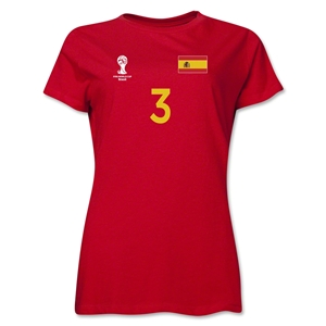 Spain 2014 FIFA World Cup Brazil(TM) Women's Number 3 T-Shirt (Red)