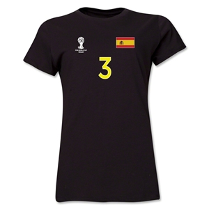 Spain 2014 FIFA World Cup Brazil(TM) Women's Number 3 T-Shirt (Black)