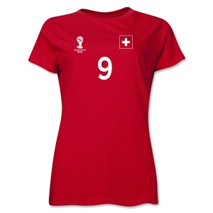 Switzerland 2014 FIFA World Cup Brazil(TM) Women's Number 9 T-Shirt (Red)