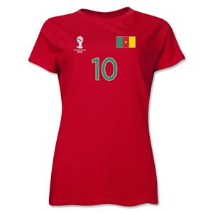 Cameroon 2014 FIFA World Cup Brazil(TM) Women's Number 10 T-Shirt (Red)