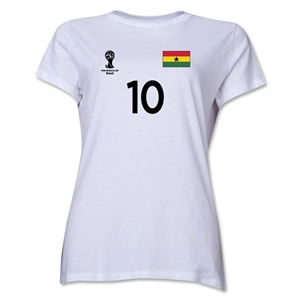 Ghana 2014 FIFA World Cup Brazil(TM) Women's Number 10 T-Shirt (White)