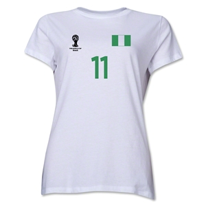 Nigeria 2014 FIFA World Cup Brazil(TM) Women's Number 11 T-Shirt (White)