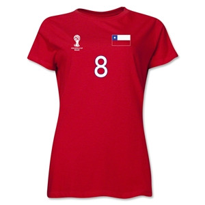 Chile 2014 FIFA World Cup Brazil(TM) Women's Number 8 T-Shirt (Red)