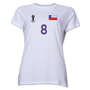 Chile 2014 FIFA World Cup Brazil(TM) Women's Number 8 T-Shirt (White)
