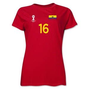 Ecuador 2014 FIFA World Cup Brazil(TM) Women's Number 16 T-Shirt (Red)