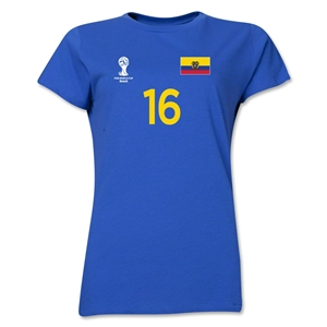Ecuador 2014 FIFA World Cup Brazil(TM) Women's Number 16 T-Shirt (Royal)