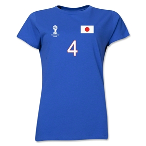 Japan 2014 FIFA World Cup Brazil(TM) Women's Number 4 T-Shirt (Royal)
