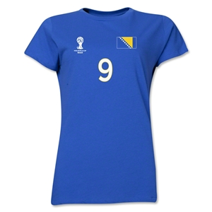 Bosnia-Herzegovina 2014 FIFA World Cup Brazil(TM) Women's Number 9 T-Shirt (Royal)