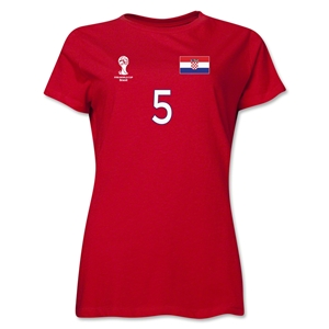Croatia 2014 FIFA World Cup Brazil(TM) Women's Number 5 T-Shirt (Red)