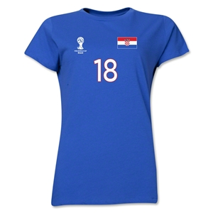 Croatia 2014 FIFA World Cup Brazil(TM) Women's Number 18 T-Shirt (Royal)
