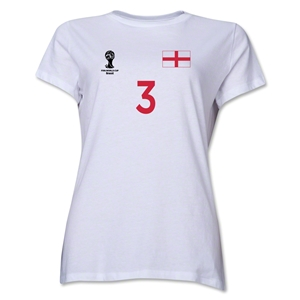 England 2014 FIFA World Cup Brazil(TM) Women's Number 3 T-Shirt (White)