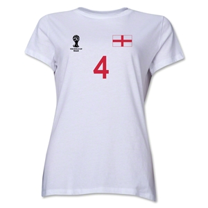 England 2014 FIFA World Cup Brazil(TM) Women's Number 4 T-Shirt (White)