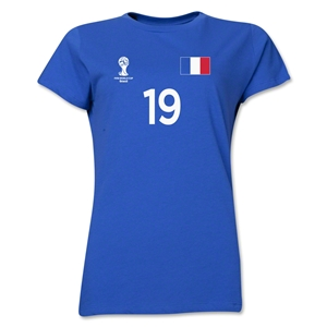 France 2014 FIFA World Cup Brazil(TM) Women's Number 19 T-Shirt (Royal)