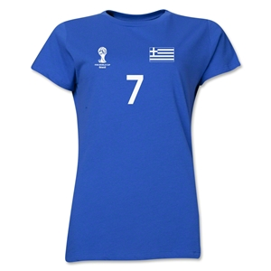 Greece 2014 FIFA World Cup Brazil(TM) Women's Number 7 T-Shirt (Royal)