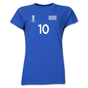 Greece 2014 FIFA World Cup Brazil(TM) Women's Number 10 T-Shirt (Royal)
