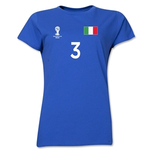Italy 2014 FIFA World Cup Brazil(TM) Women's Number 3 T-Shirt (Royal)