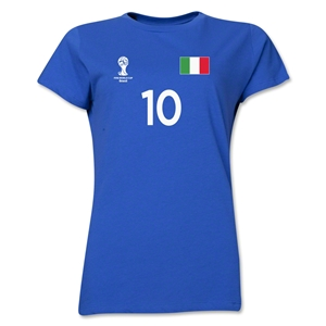 Italy 2014 FIFA World Cup Brazil(TM) Women's Number 10 T-Shirt (Royal)