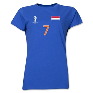 Netherlands 2014 FIFA World Cup Brazil(TM) Women's Number 7 T-Shirt (Royal)