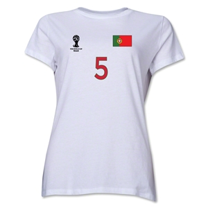 Portugal 2014 FIFA World Cup Brazil(TM) Women's Number 5 T-Shirt (White)