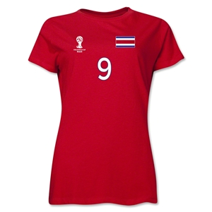 Costa Rica 2014 FIFA World Cup Brazil(TM) Women's Number 9 T-Shirt (Red)