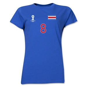 Costa Rica 2014 FIFA World Cup Brazil(TM) Women's Number 8 T-Shirt (Royal)
