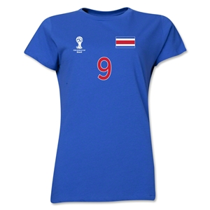 Costa Rica 2014 FIFA World Cup Brazil(TM) Women's Number 9 T-Shirt (Royal)