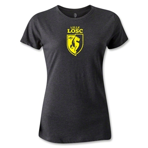LOSC Lille Distressed Crest Women's T-Shirt (Dark Gray)