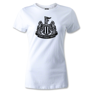 Newcastle United Distressed Crest Women's T-Shirt (White)