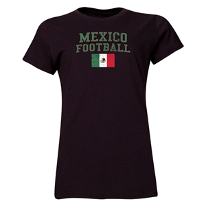 Mexico Women's Football T-Shirt (Black)